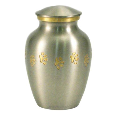 Classic Paw Print Large Pewter Urn