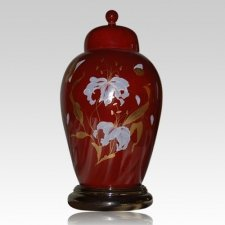 Orchid Red Ceramic Cremation Urn