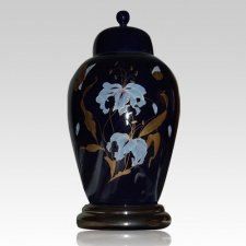Orchid Blue Ceramic Cremation Urn