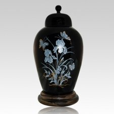 Iris Black Ceramic Cremation Urns