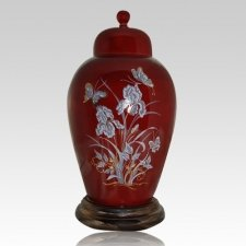 Iris Red Ceramic Cremation Urns