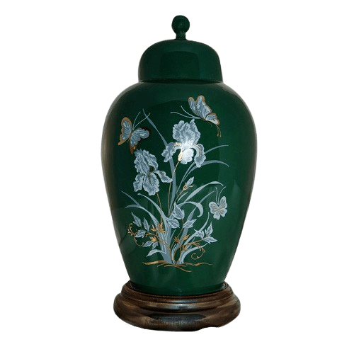 Iris Green Ceramic Cremation Urns