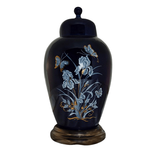 Iris Navy Ceramic Cremation Urns