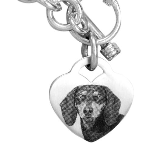 Etched Heart Photo Memory Bracelet