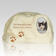 Cat Paw Print Rock Urn