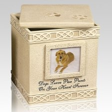 Dog Paw Prints Heart Cremation Urn