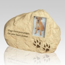 Dog Paw Print Rock Cremation Urn