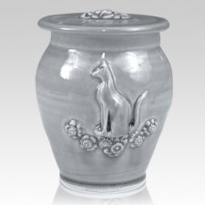 Kitty Powder Blue Ceramic Cremation Urn