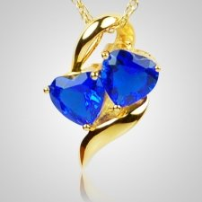 Sapphire Hearts Cremation Jewelry II