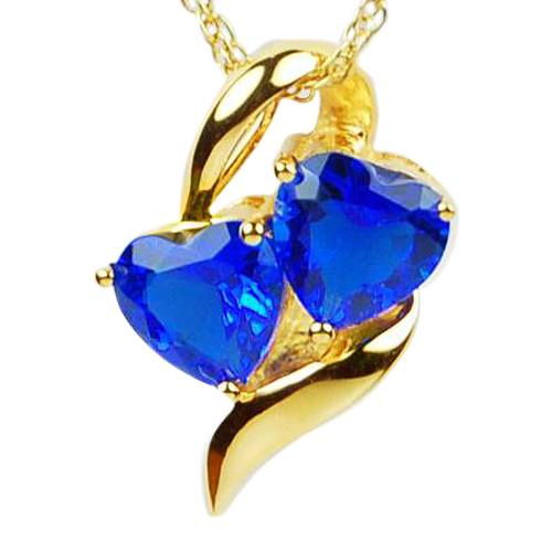 Sapphire Hearts Cremation Jewelry IV