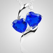 Sapphire Hearts Cremation Jewelry