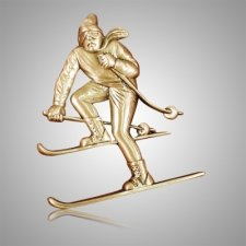 Downhill Skier Medallion Appliques