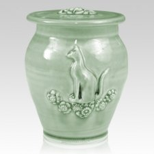 Kitty Celadon Blue Ceramic Cremation Urn