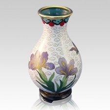 White Iris Cloisonne Vase