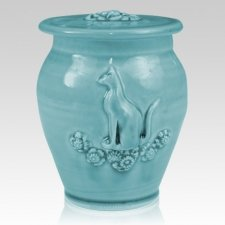 Kitty Weathered Blue Ceramic Cremation Urn