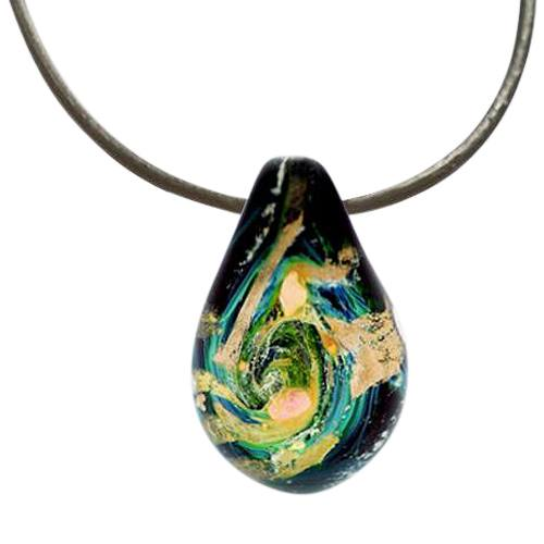 Abstract Cremation Ash Pendant