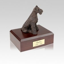 Airedale Bronze Small Dog Urn