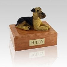 Airedale Terrier Laying Large Dog Urn