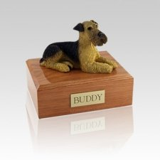 Airedale Terrier Laying Medium Dog Urn