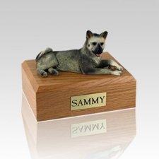 Akita Gray Laying Large Dog Urn