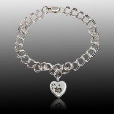 Amore 14k White Gold Cremation Print Bracelet