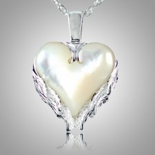 Angel Wings Heart Keepsake Pendant