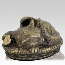 Angel Cat Cremation Urn Antique Bronze