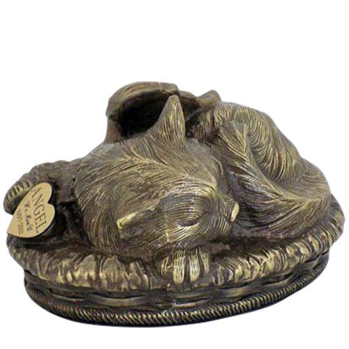 Angel Cat Cremation Urn Antique Bronze