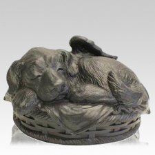 Angel Dog Cremation Urn Black