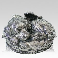 Angel Dog Cremation Urn Silver