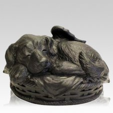 Angel Dog Large Cremation Urn Black