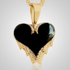 Angel Wings Black Inlay Heart Keepsake Pendant  II
