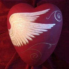 Angel Wings Ceramic Heart Urn