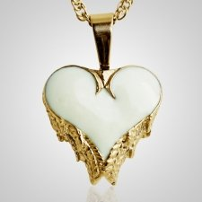 Angel Wings White Inlay Heart Keepsake Pendant II