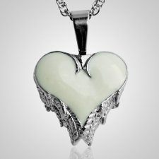 Angel Wings White Inlay Heart Keepsake Pendant