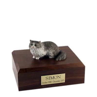 Angora Gray Medium Cat Cremation Urn