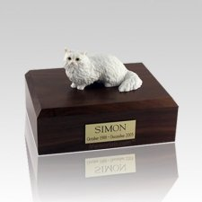 Angora White Medium Cat Cremation Urn