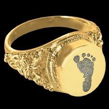 Antique 14k Gold Cremation Print Ring