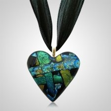 Aqua Yellow Heart Ashes Pendants