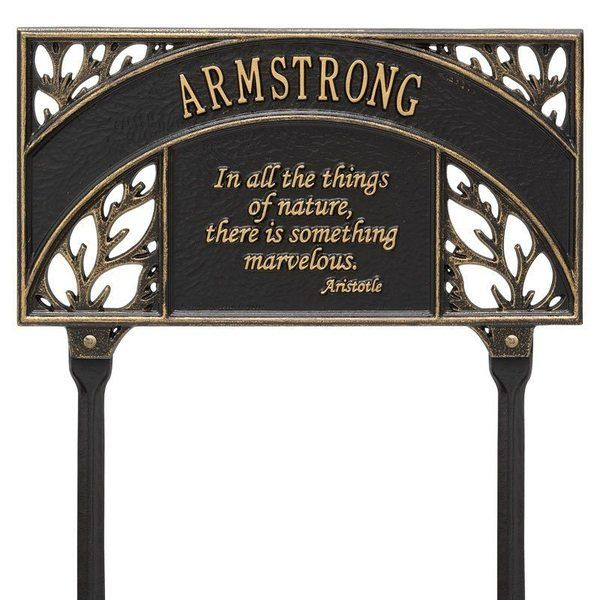 Aristotle Garden Black Dedication Plaque