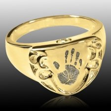Armor 14k Gold Cremation Print Ring