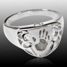 Armor 14k White Gold Cremation Print Ring