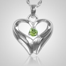 August Birthstone Cremation Heart