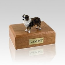 Australian Sheepdog Brown & White Large Dog Urn