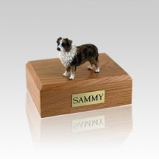 Australian Sheepdog Brown & White Medium Dog Urn