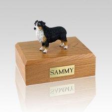 Australian Sheepdog Tri-Color Docked Large Dog Urn