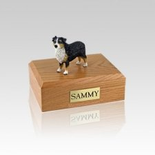 Australian Sheepdog Tri-Color Small Dog Urn