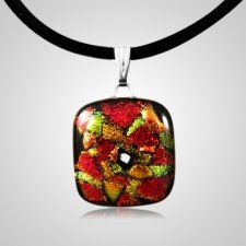 Autumn Dichroic Square Glass Ash Pendant