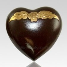 Avalon Mahogany Heart Keepsake Cremation Urn