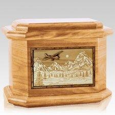 Aviation Oak Octagon Cremation Urn
